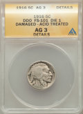 Buffalo Nickels, 1916 5C Doubled Die Obverse, FS-101, -- Damaged, Acid Treated -- ANACS. AG3 Details. Die-1....
