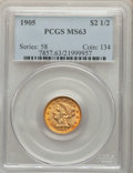 Liberty Quarter Eagles, 1905 $2 1/2 MS63 PCGS. PCGS Population: 1726 in 63 (4 in 63+), 2758 finer (12/19). NGC Census: 1464 in 63 (5 in 63+), 2739 ...