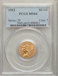 1913 $2 1/2 MS64 PCGS. PCGS Population: (921/184). NGC Census: (956/111). CDN: $850 Whsle. Bid for NGC/PCGS MS64. Mintag...