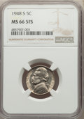 1948-S 5C MS66 Full Steps NGC. NGC Census: (81/9). PCGS Population: (145/17). CDN: $150 Whsle. Bid for problem-free NGC/...