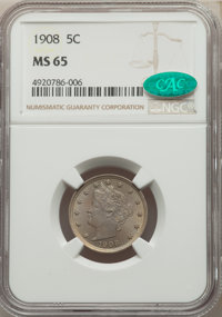 1908 5C MS65 NGC. CAC. NGC Census: (56/6). PCGS Population: (115/29). CDN: $375 Whsle. Bid for problem-free NGC/PCGS MS6...