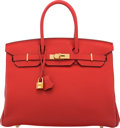 """Luxury Accessories:Bags, Hermès 35cm Rouge Casaque Togo Leather Birkin Bag with Gold Hardware. E Square, 2012. Condition: 2. 14"""" Width x 11..."""