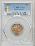 1858 1C Small Letters MS63 PCGS. PCGS Population: (232/474 and 3/25+). NGC Census: (195/368 and 3/4+). CDN: $850 Whsle...