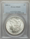 Morgan Dollars, 1882-S $1 MS65 PCGS. PCGS Population: (19653/6463). NGC Census: (19637/8544). MS65. Mintage 9,250,000. ...