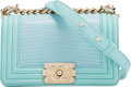 "Luxury Accessories:Bags, Chanel Light Blue Lizard Small Boy Bag with Gold Hardware. Condition: 3. 8"" Width x 5"" Height x 3"" Depth. ..."