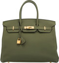 "Luxury Accessories:Bags, Hermès 35cm Vert Olive Togo Leather Birkin Bag with Gold Hardware. Q Square, 2013. Condition: 2 . 14"" Width x 11"" ..."