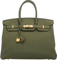 "Hermès 35cm Vert Olive Togo Leather Birkin Bag with Gold Hardware Q Square, 2013 Condition: 2 14"" Width x 11..."