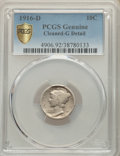 1916-D 10C -- Cleaned -- PCGS Genuine. Good Details. NGC Census: (612/1243). PCGS Population: (1730/3237). CDN: $685 Whs...