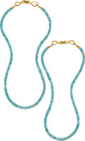 Estate Jewelry:Necklaces, Apatite, Gold Necklaces . ... (Total: 2 Items)