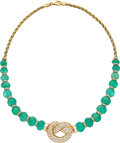 Estate Jewelry:Necklaces, Emerald, Diamond, Gold Necklace . ...