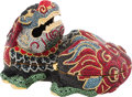 """Luxury Accessories:Bags, Judith Leiber Full Bead Red and Blue Crystal Foo Dog Minaudiere Evening Bag. Condition: 3. 6"""" Width x 3.5"""" Height x 4""""..."""