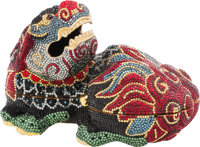 "Judith Leiber Full Bead Red and Blue Crystal Foo Dog Minaudiere Evening Bag Condition: 3 6"" Width x 3.5"" Heigh..."