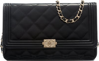 """Chanel Black Quilted Patent Leather Boy Wallet on Chain with Gold Hardware Condition: 1 7.5"""" Widt"""