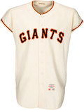 Baseball Collectibles:Uniforms, 1965 Willie Mays Game Worn San Francisco Giants Jersey, MEARS A9--Multiple Photo Matches!...