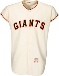 1965 Willie Mays Game Worn San Francisco Giants Jersey, MEARS A9--Multiple Photo Matches!