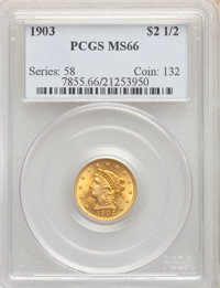 1903 $2 1/2 MS66 PCGS. PCGS Population: (335/85). NGC Census: (300/93). MS66. Mintage 201,000. ...(PCGS# 7855)