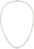 Estate Jewelry:Necklaces, Diamond, White Gold Necklace The rivière nec...