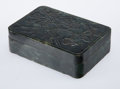 Carvings, A Chinese Carved Spinach Jade Box with Cover, late Qing Dynasty . 1-1/2 x 5 x 3-1/2 inches (3.8 x 12.7 x 8.9 cm). ...