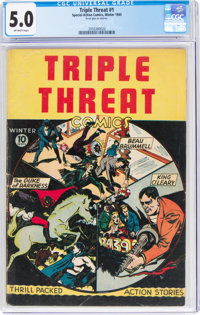 Triple Threat #1 (Special Action Comics, 1945) CGC VG/FN 5.0 Off-white pages