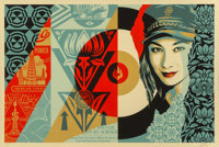 Shepard Fairey (b. 1970) Raise the Level, 2019 Screenprint in colors on speckled cream paper 24 x 36 inches (61 x 91