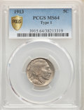 Buffalo Nickels, 1913 5C Type One MS64 PCGS. PCGS Population: (4541/7002). NGC Census: (2726/4520). MS64. Mintage 30,993,520. ...