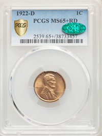 1922-D 1C MS65+ Red PCGS. CAC. PCGS Population: (99/14 and 24/3+). NGC Census: (24/2 and 0/0+). CDN: $1,050 Whsle. Bid f...