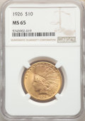 Indian Eagles: , 1926 $10 MS65 NGC. Pop (597/50), CDN Collector Price ($3120.00), CCDN Price ($2300.00), Trends ($2750.00), CAC (36/6)