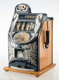 Furniture, A Mills Novelty Co. Aikens Front Extra Bell Enameled Metal and Oak Ten Cent Three-Reel Slot Machine, Chicago, ci...