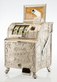 A Mills Novelty Co. Liberty Bell Cast-Iron Five Cent Three-Reel Slot Machine, Chicag