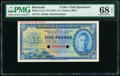 Bermuda Bermuda Government 5 Pounds ND (1947) Pick 17cts Color Trial Specimen PMG Superb Gem Unc 68 EPQ