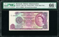 World Currency, Bermuda Bermuda Government 10 Pounds 28.7.1964 Pick 22 PMG Gem Uncirculated 66 EPQ.. ...