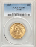 Liberty Eagles, 1907 $10 MS64+ PCGS. PCGS Population: (1181/41). NGC Census: (1011/83). MS64. Mintage 1,203,973....