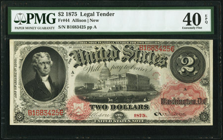 Fr. 44 $2 1875 Legal Tender PMG Extremely Fine 40 EPQ. 4 PMG