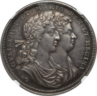 "Great Britain: William & Mary silver ""Coronation"" Medal 1689 AU58 NGC"
