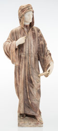Carvings, An Italian Chryselephantine-Style Marble Statue Depicting Dante, late 19th-early 20th century. 26-3/4 x 11 x 7 inches (67.9 ...