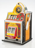 Furniture, A Watling Scale Co. Inc. Cherry Front Rol-A-Top Enameled Metal Five Cent Twin Jackpot Slot Machine, Chicago, cir...