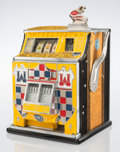 Furniture, A Watling Scale Co. Inc. Treasury Enameled Metal Ten Cent Twin Jackpot Slot Machine with Castle Façade, Chicago,...