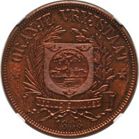 South Africa: Orange Free State. Republic bronze Proof Pattern Penny 1888-V PR65 Brown NGC