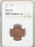 1851 1/2 C C-1, B-1, R.1, MS63 Red and Brown NGC. NGC Census: (31/18). PCGS Population: (4/3). MS63. Mintage 147,672...