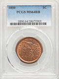 1850 1C MS64 Red and Brown PCGS. PCGS Population: (178/127). NGC Census: (94/110). CDN: $510 Whsle. Bid for NGC/PCGS MS6...