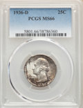 1936-D 25C MS66 PCGS. PCGS Population: (157/25). NGC Census: (62/14). CDN: $1,000 Whsle. Bid for NGC/PCGS MS66. Mintage...
