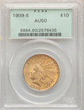 Indian Eagles: , 1909-S $10 AU50 PCGS. PCGS Population: (56/985). NGC Census: (34/828). CDN: $774.16.Whsle. Bid for NGC/PCGS AU50. Mintage 2...