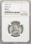 Commemorative Silver, 1893 25C Isabella Quarter MS62 NGC. NGC Census: (581/2433). PCGS Population: (944/3453). MS62. Mintage 24,214. ...