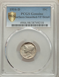 1916-D 10C -- Surface Smoothed -- PCGS Genuine. VF Details. Mintage 264,000....(PCGS# 4906)