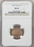 1857 1C MS65 NGC. NGC Census: (217/12). PCGS Population: (270/24). MS65. Mintage 17,450,000. ...(PCGS# 2016)