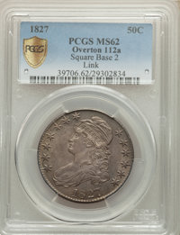 1827 50C Square Base 2, O-112a, R.4, MS62 PCGS. PCGS Population: (1/1 and 0/0+). NGC Census: (0/0 and 0/0+). MS62. Minta...