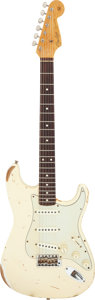 Musical Instruments:Electric Guitars, 1996 Fender Stratocaster 1960 Relic Olympic White Solid Body Electric Guitar, Serial #R0669.. ...