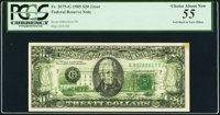 Full Back to Face Offset Error Fr. 2075-G $20 1985 Federal Reserve Note. PCGS Choice About New 55
