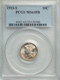 1923-S 10C MS63 Full Bands PCGS. PCGS Population: (57/145). NGC Census: (17/46). Mintage 6,440,000. ...(PCGS# 4941)