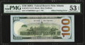 Error Notes:Offsets, Partial Offset of Printing of Treasury Seal on Back Error Fr. 2187-F $100 2009A Federal Reserve Note. PMG About Uncirculated 5...